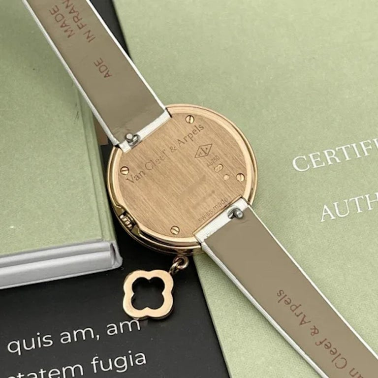 Van Cleef & Arpels Rose Gold Charm Diamond Watches VCARO29700 For Sale 4