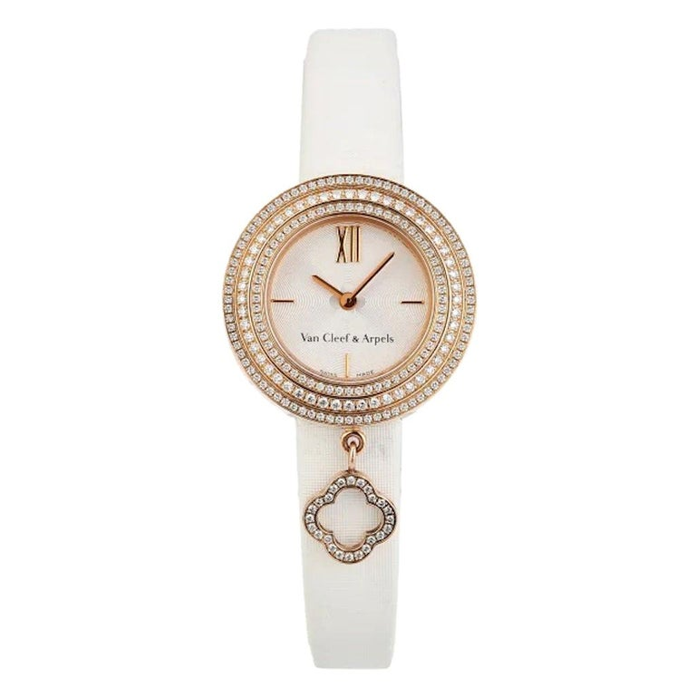 Van Cleef & Arpels Rose Gold Charm Diamond Watches VCARO29700 For Sale