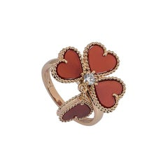Van Cleef & Arpels Rose Gold, Diamond and Carnelian Sweet Alhambra Ring