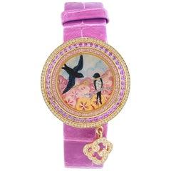 Van Cleef & Arpels rose gold Diamond Pink Violet Sapphires quartz Wristwatch