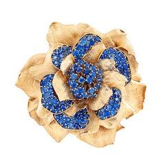 Van Cleef & Arpels Rose Gold Sapphire Flower Brooch