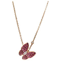 Van Cleef & Arpels Rose Gold Two Butterfly Pendant Diamond Sapphire Necklace
