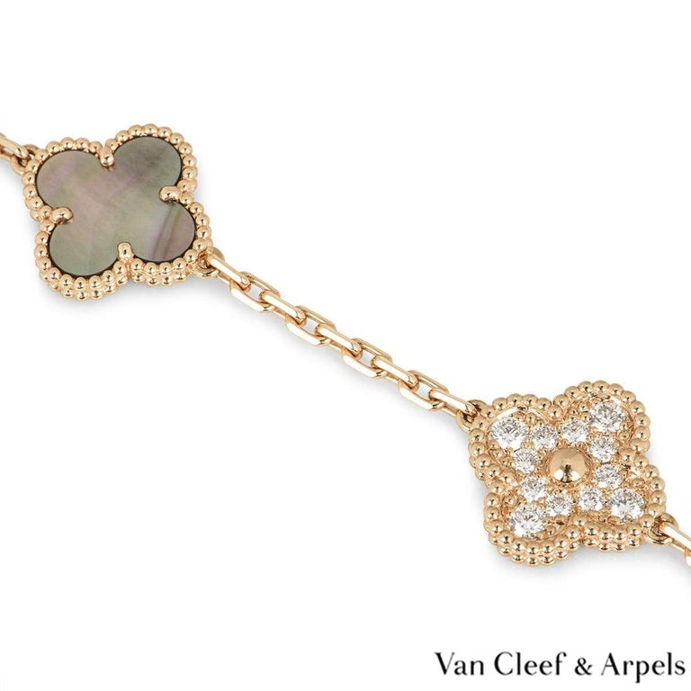 Van Cleef & Arpels Rose Gold Vintage Alhambra Bracelet VCARP2R100 In Excellent Condition For Sale In London, GB