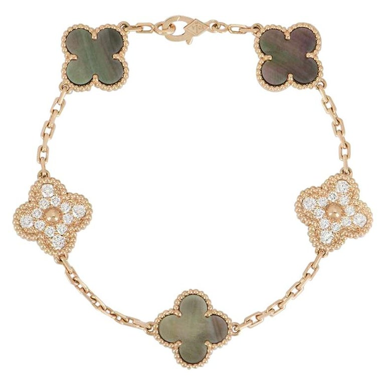 Van Cleef & Arpels Rose Gold Vintage Alhambra Bracelet VCARP2R100 For Sale