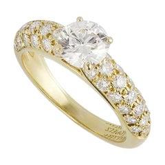 Van Cleef & Arpels Round Brilliant Cut Diamond Engagement Ring .79 Carat