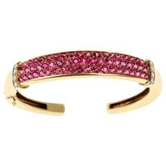 Van Cleef & Arpels Round Rubies Bangle Cuff with Diamonds, 18 Karat Gold