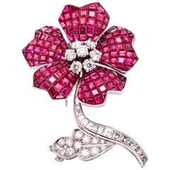 Van Cleef & Arpels Rubies and Diamonds Flower Brooch
