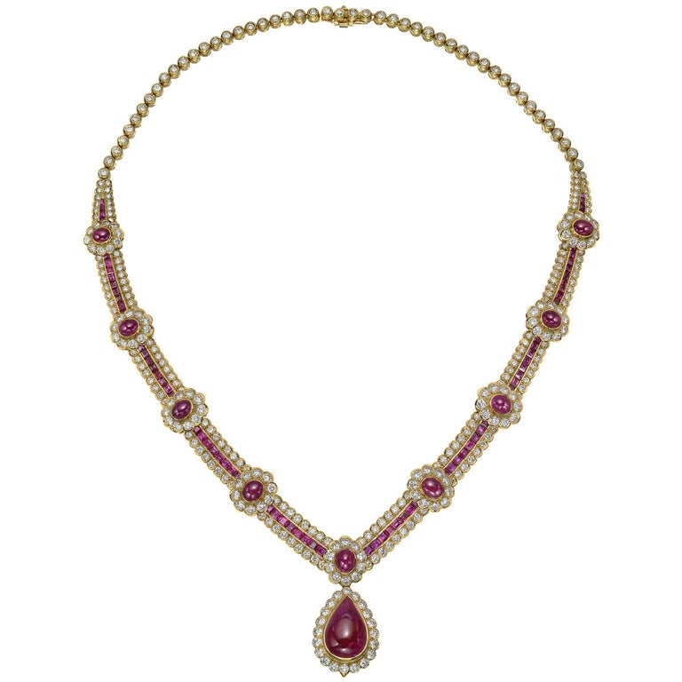 Cabochon Van Cleef & Arpels Ruby and Diamond Centerpiece Necklace For Sale