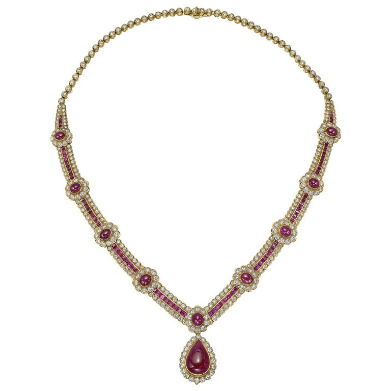 Van Cleef & Arpels Ruby and Diamond Centerpiece Necklace For Sale