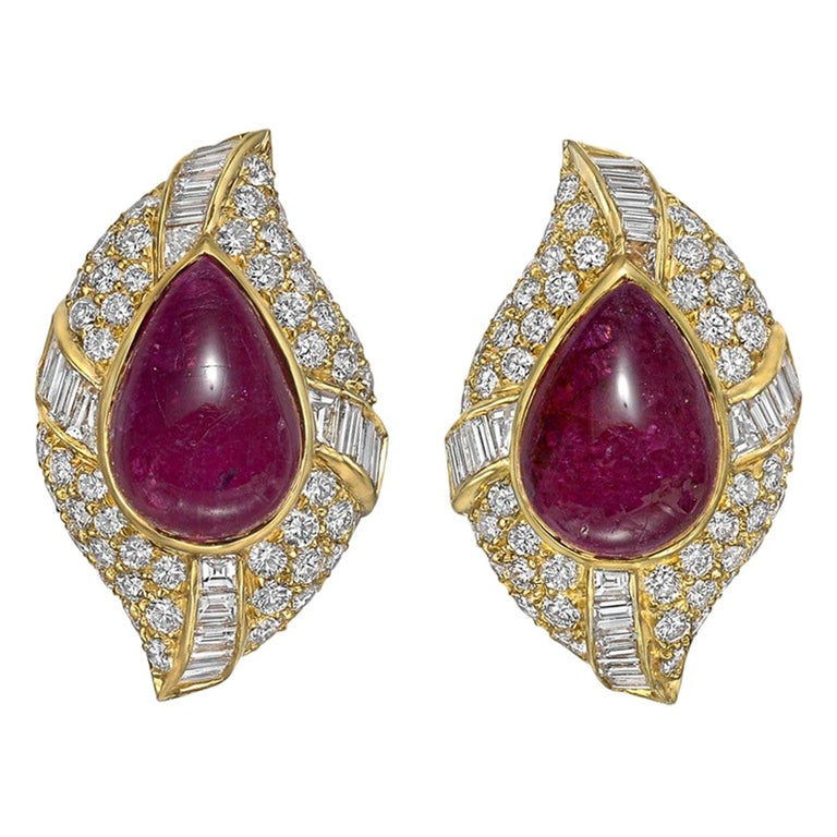 Van Cleef & Arpels Ruby and Diamond Cluster Earclips For Sale