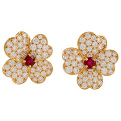 "Van Cleef & Arpels Ruby and Diamond ""Cosmos"" Earrings"