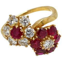 Van Cleef & Arpels Ruby and Diamond Double Flower Ring