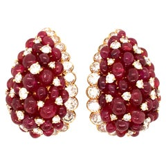 Van Cleef & Arpels Ruby and Diamond Ear Clips in Yellow Gold 750