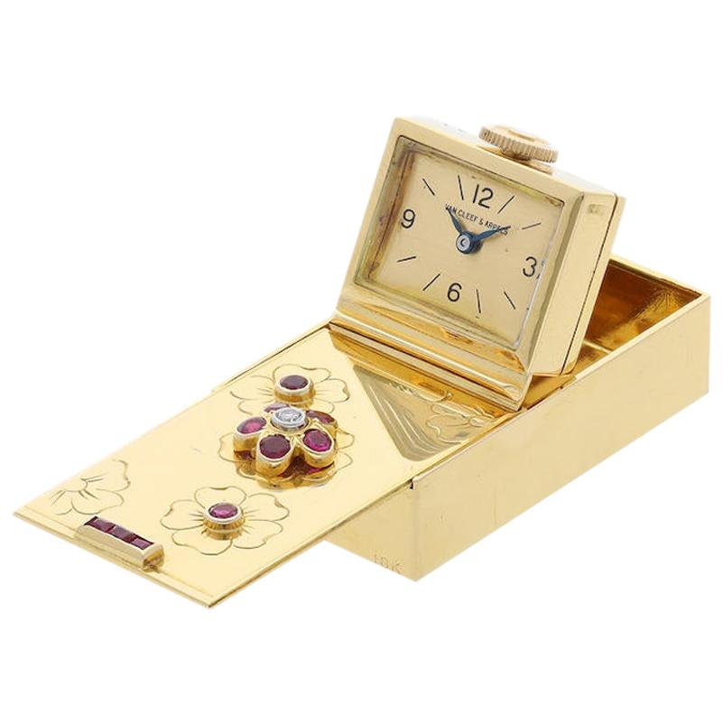 Van Cleef & Arpels Ruby and Diamond Gold Purse Watch