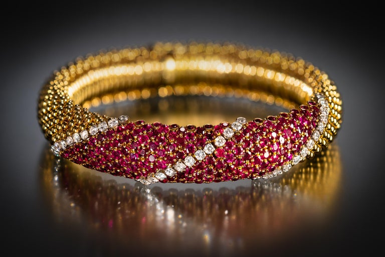 "Women's or Men's Van Cleef & Arpels Ruby and Diamond ""Pelouse"" Bracelet For Sale"