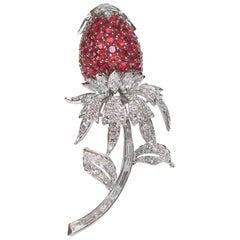 Van Cleef & Arpels Ruby and Diamond Strawberry Brooch