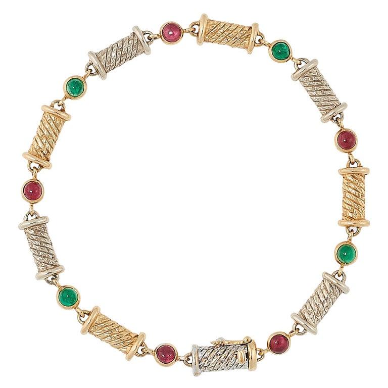 Van Cleef & Arpels Ruby and Emerald Bracelet For Sale