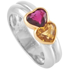 Van Cleef & Arpels Ruby and Yellow Sapphire Double Heart Two-tone Gold Ring