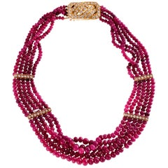 Van Cleef & Arpels Ruby Bead Necklace with 18ky Gold and 3.00 Carat of Diamonds