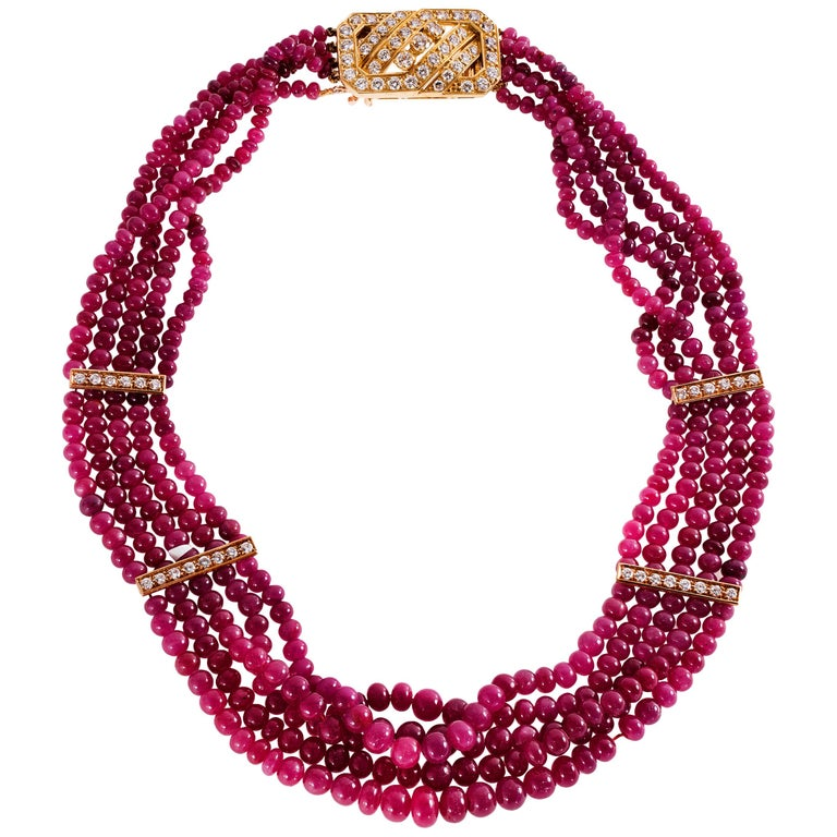 Van Cleef & Arpels Ruby Bead Necklace with 18ky Gold and 3.00 Carat of Diamonds For Sale