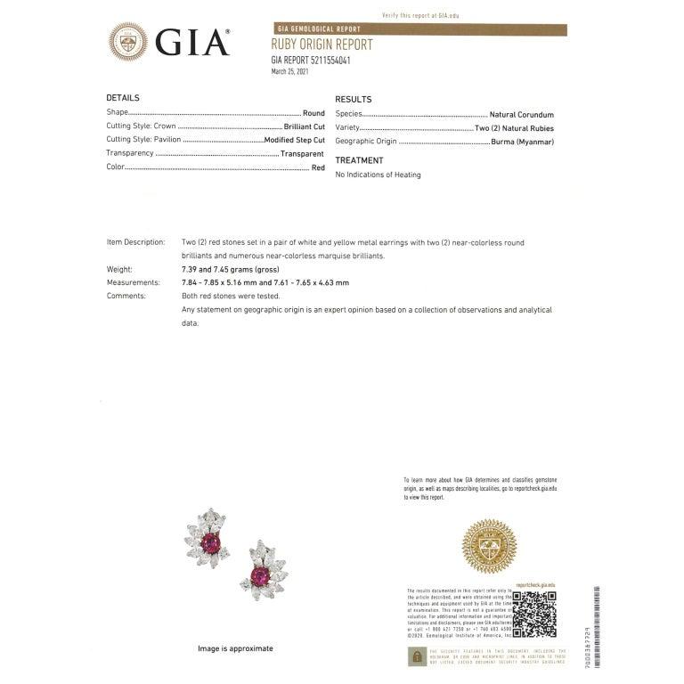 Van Cleef & Arpels Ruby & Diamond Earrings GIA No Heat Burma For Sale 5