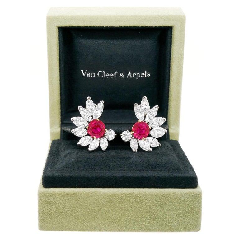 Brilliant Cut Van Cleef & Arpels Ruby & Diamond Earrings GIA No Heat Burma For Sale