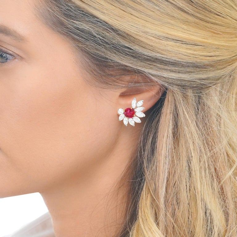 Van Cleef & Arpels Ruby & Diamond Earrings GIA No Heat Burma In Excellent Condition For Sale In Litchfield, CT