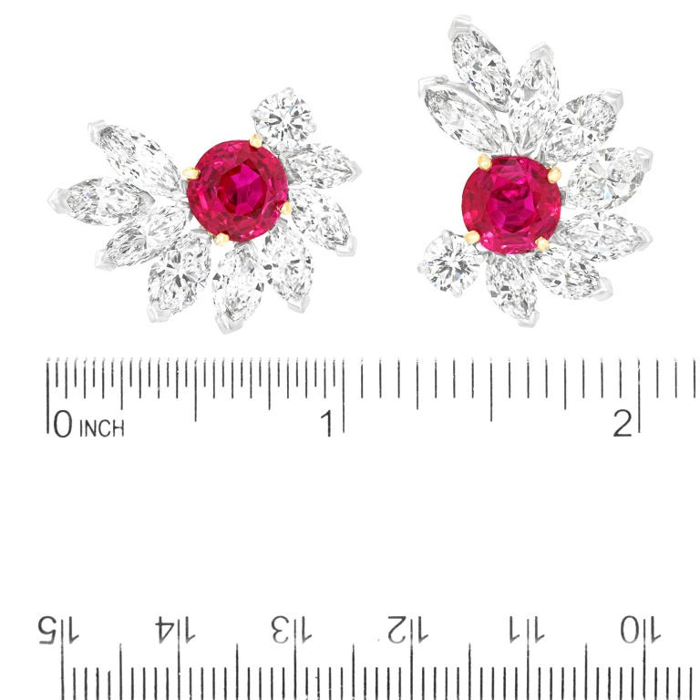 Van Cleef & Arpels Ruby & Diamond Earrings GIA No Heat Burma For Sale 1