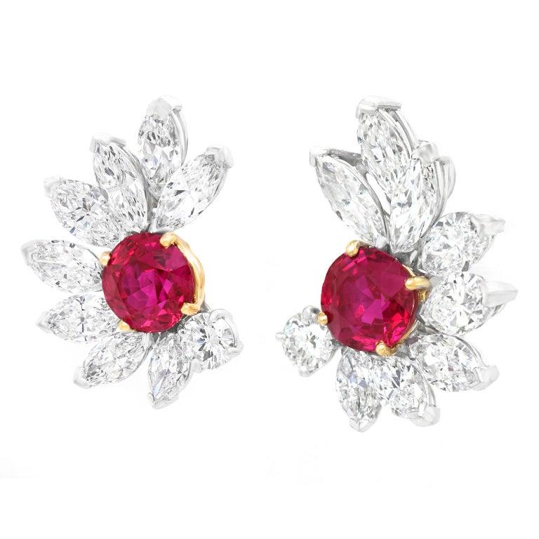 Van Cleef & Arpels Ruby & Diamond Earrings GIA No Heat Burma For Sale 3