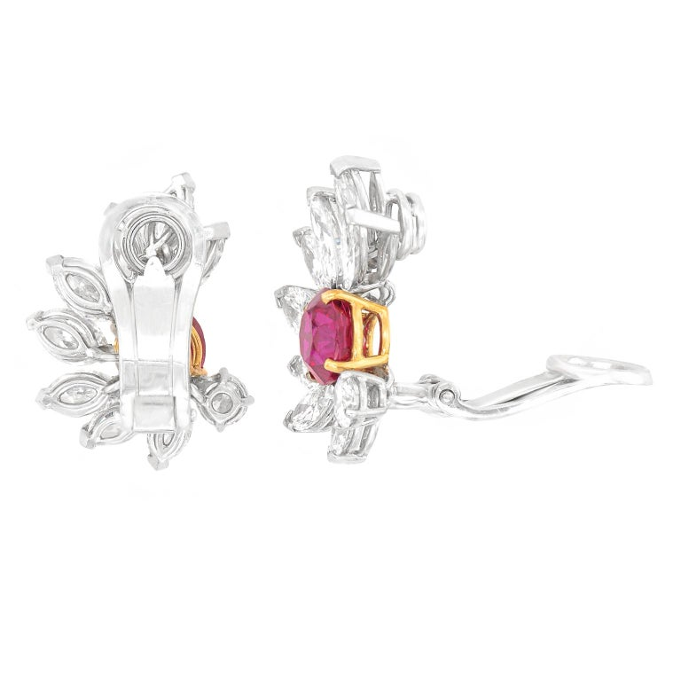 Van Cleef & Arpels Ruby & Diamond Earrings GIA No Heat Burma For Sale 4