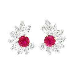 Van Cleef & Arpels Ruby & Diamond Earrings GIA No Heat Burma