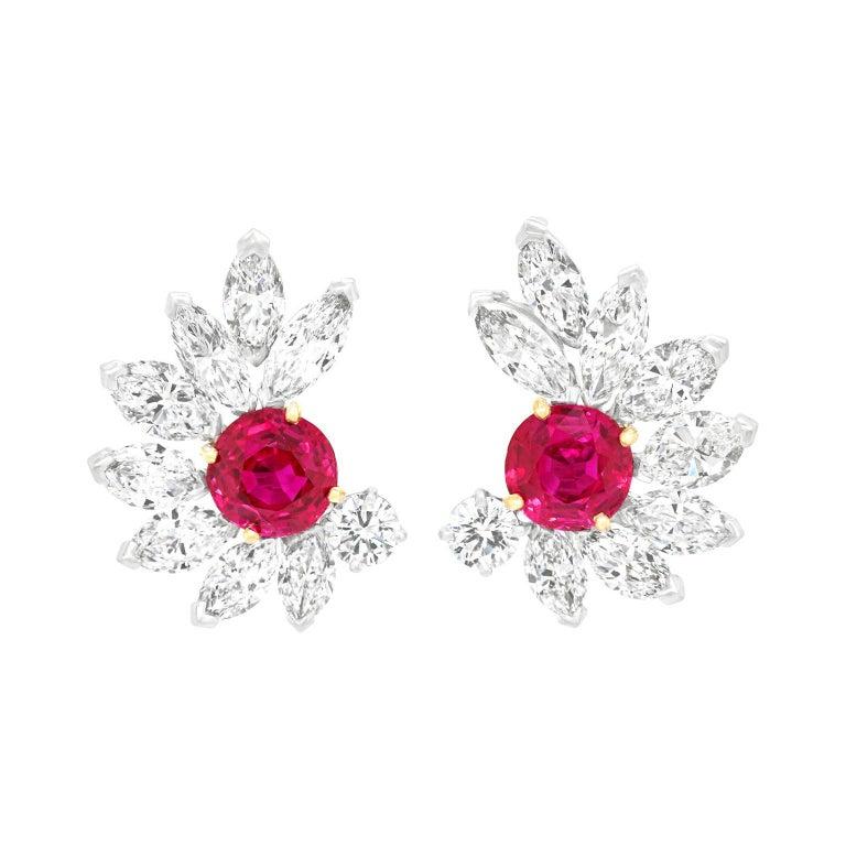 Van Cleef & Arpels Ruby & Diamond Earrings GIA No Heat Burma For Sale