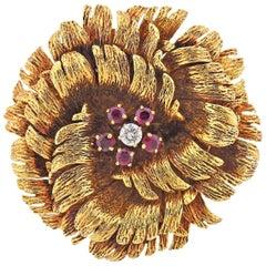 Van Cleef & Arpels Ruby Diamond Gold Flower Brooch