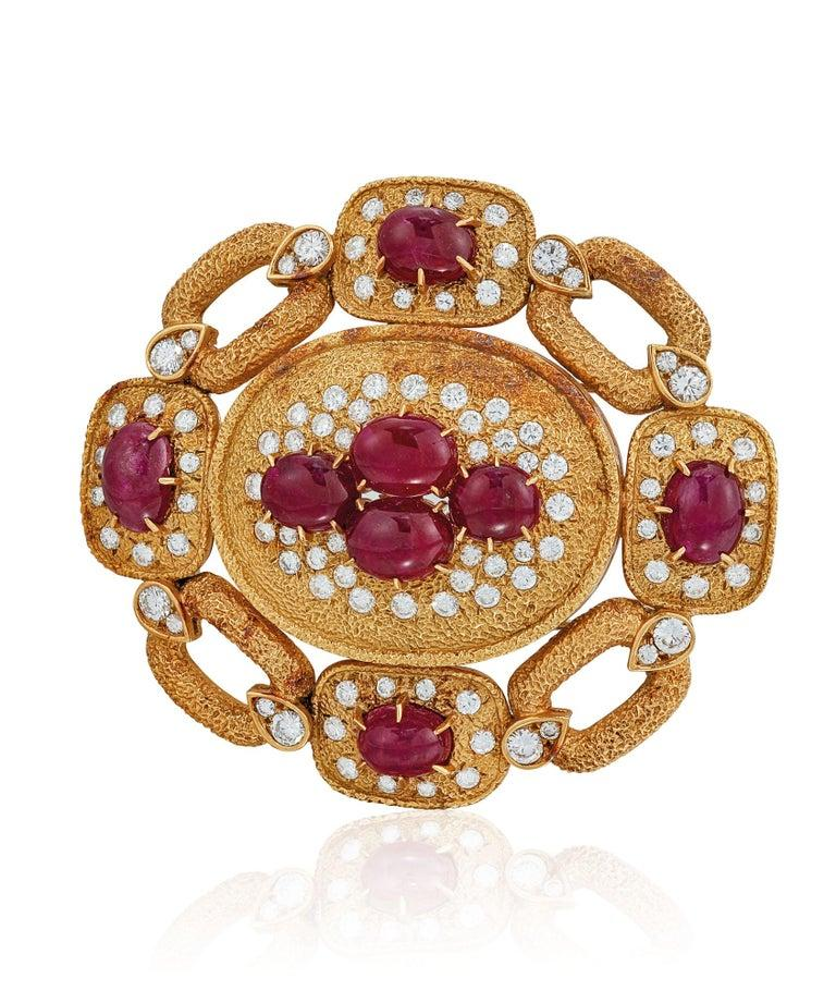 Van Cleef & Arpels Ruby and Diamond Pendant and Necklace Set For Sale 5