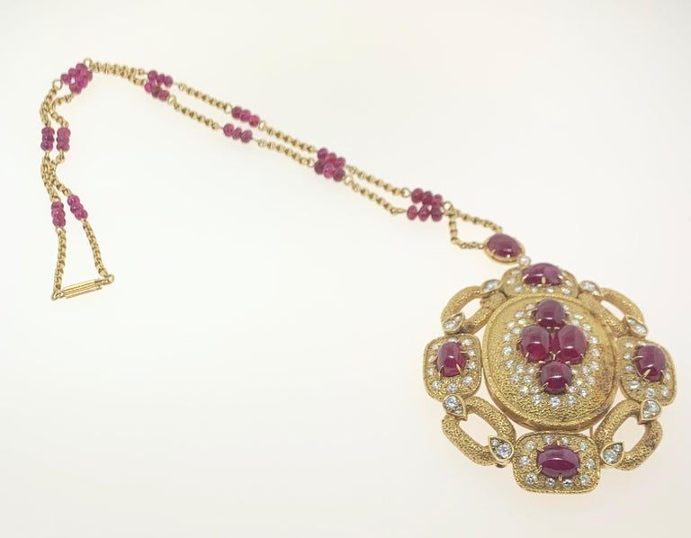 Van Cleef & Arpels Ruby and Diamond Pendant and Necklace Set For Sale 1