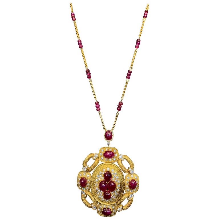 Van Cleef & Arpels Ruby and Diamond Pendant and Necklace Set For Sale