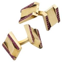 Van Cleef & Arpels Ruby Gold Cufflinks, circa 1940