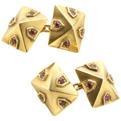 Van Cleef & Arpels Ruby Gold Cufflinks