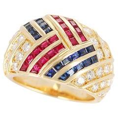 Van Cleef & Arpels Ruby, Sapphire, and Diamond Cocktail Ring, 18 Karat Gold