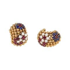 Van Cleef & Arpels Ruby, Sapphire and Diamond Earrings