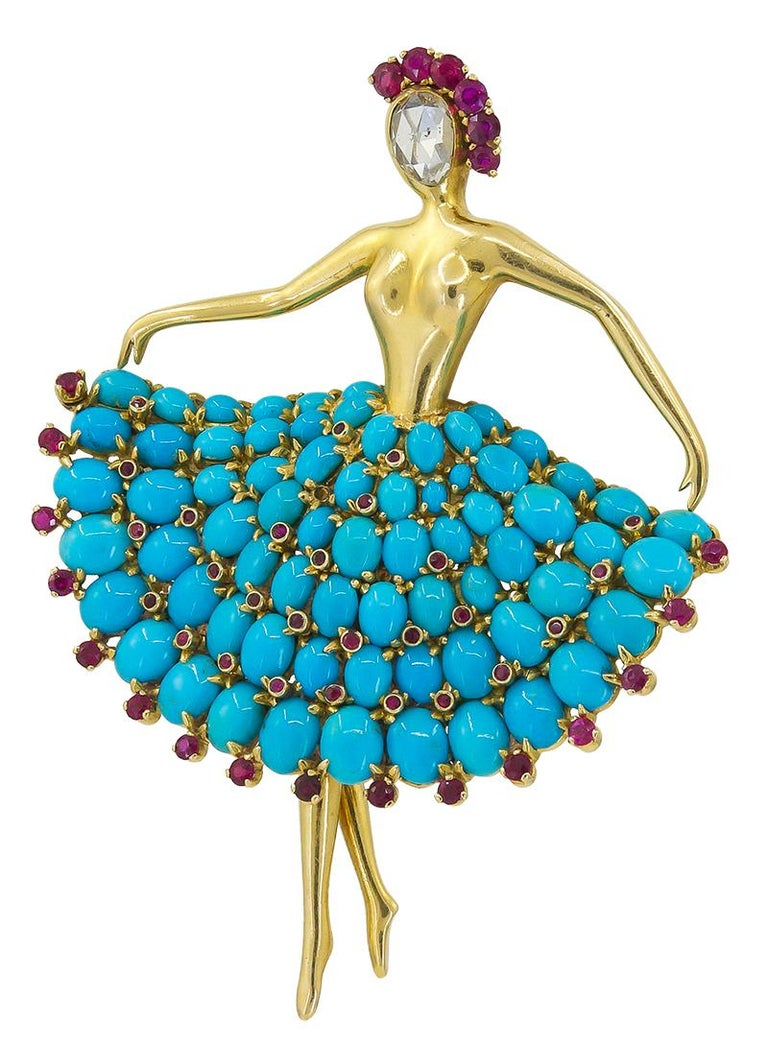 Van Cleef & Arpels Ruby Turquoise Ballerina Brooch In Good Condition For Sale In New York, NY