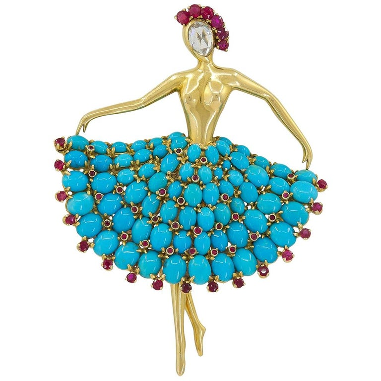 Van Cleef & Arpels Ruby Turquoise Ballerina Brooch For Sale