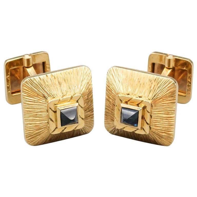 Van Cleef & Arpels Sapphire 18 Karat Gold Midcentury Cufflinks For Sale