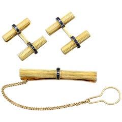Van Cleef & Arpels Sapphire 18 Karat Gold Bar Cufflinks and Tie Bar