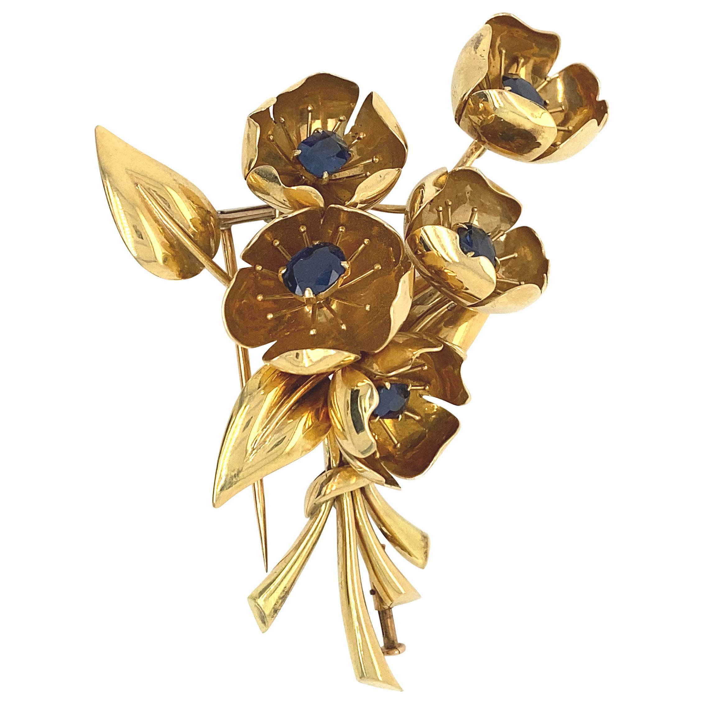 Van Cleef & Arpels Sapphire and 18k Gold Brooch