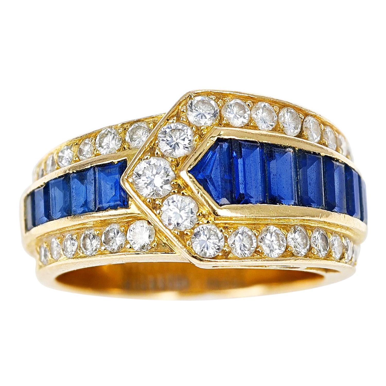 Van Cleef & Arpels Sapphire and Diamond Arrow Band Ring, 18K Yellow