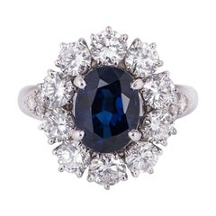 Van Cleef & Arpels Sapphire and Diamond Engagement Cocktail Ring GIA Certified