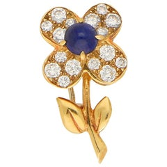 Van Cleef & Arpels Sapphire and Diamond Flower Brooch in 18k Yellow Gold