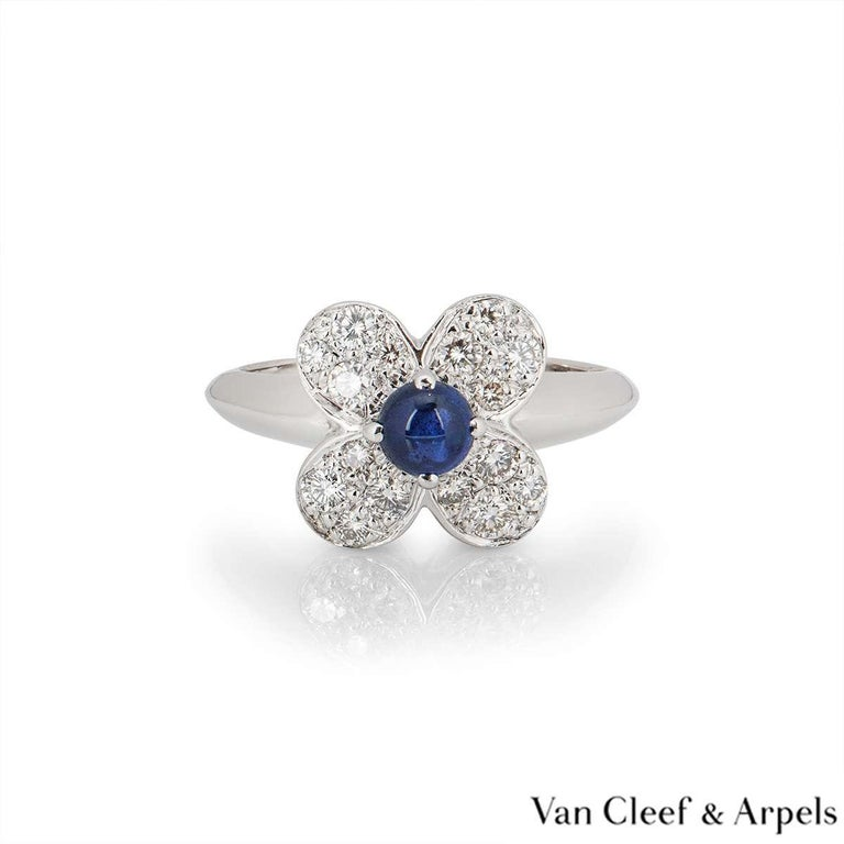 Round Cut Van Cleef & Arpels Sapphire and Diamond Alhambra Ring For Sale
