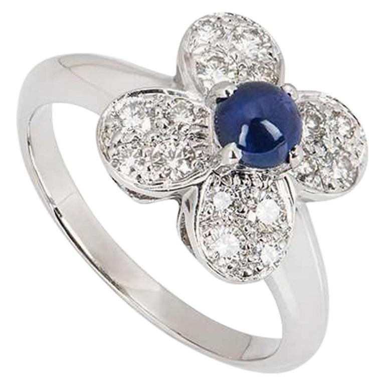 Van Cleef & Arpels Sapphire and Diamond Alhambra Ring For Sale